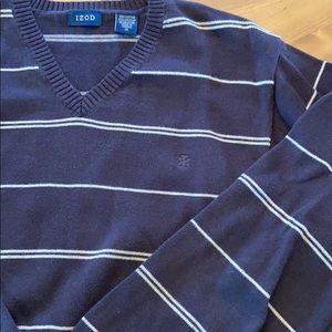 XL IZOD Sweater Brown Tan Stripe